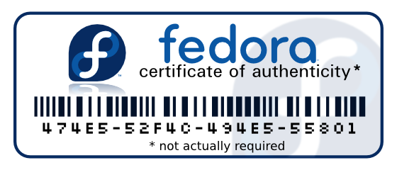 [fedora certificate of authenticity]