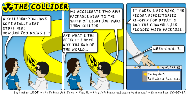 [fedora webcomic: collider]