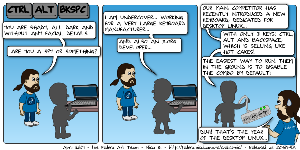 [fedora webcomic: ctrl + alt + backsapce]