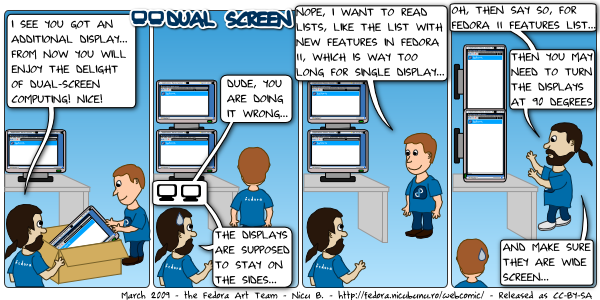 [fedora webcomic: dual screen]