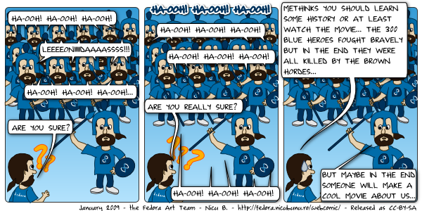 [fedora webcomic: leonidas ha-ooh