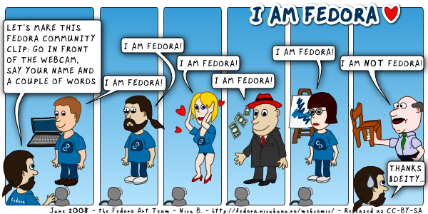 [fedora webcomic: i am fedora]