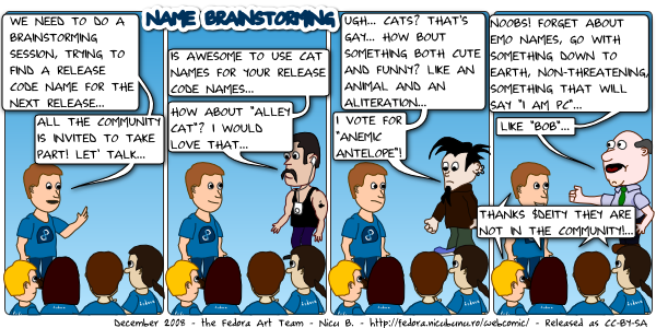 [fedora webcomic: name brainstorming]