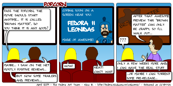 [fedora webcomic: popcorn]