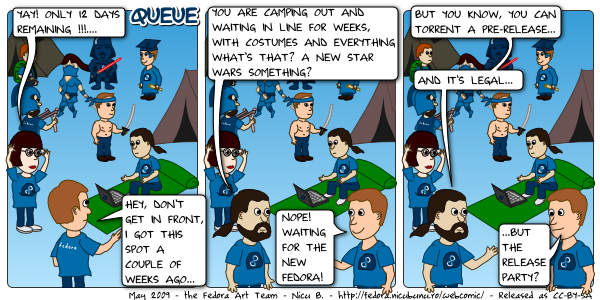 [fedora webcomic: queue]