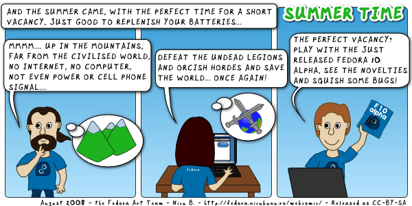[fedora webcomic: summer time]