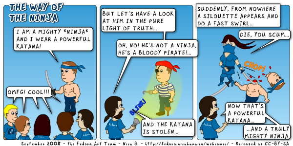 [fedora webcomic: the way of the ninja]